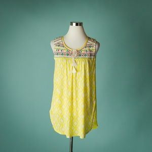 Anthro One September L Yellow Embroidered Top